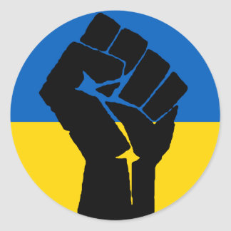 Ukrainian Flag with Black Fist Classic Round Sticker