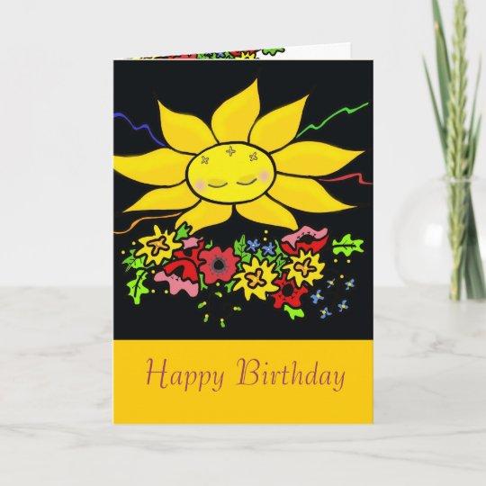 ukrainian folk art sun happy birthday card  zazzle