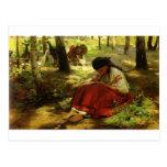 Ukrainian Girl Embroiders Postcard