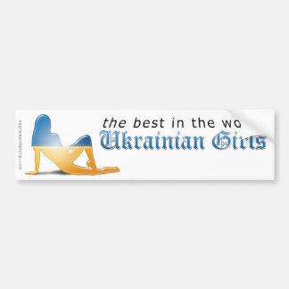 Ukrainian Girl Silhouette Flag Bumper Sticker