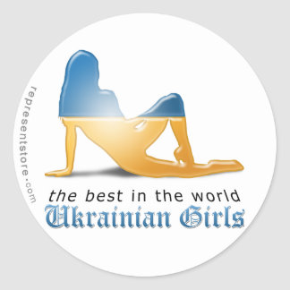Ukrainian Girl Silhouette Flag Classic Round Sticker