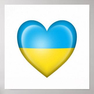 Ukrainian Heart Flag on White Poster