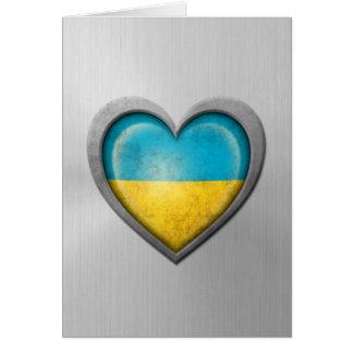 Ukrainian Heart Flag Stainless Steel Effect Greeting Card