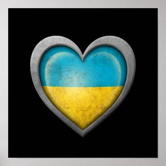 Ukrainian Heart Flag with Metal Effect Poster