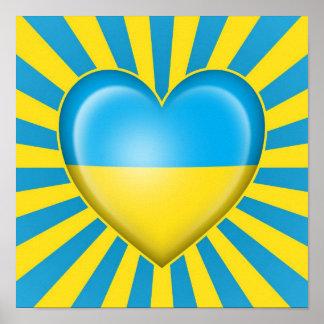 Ukrainian Heart Flag with Star Burst Posters