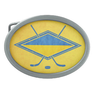 Ukrainian Hockey Flag Logo Belt Buckle