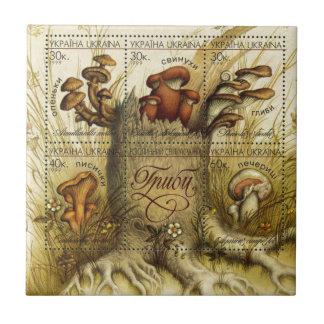 Ukrainian Hryb (Mushroom) Stamp Sheet Ceramic Tile