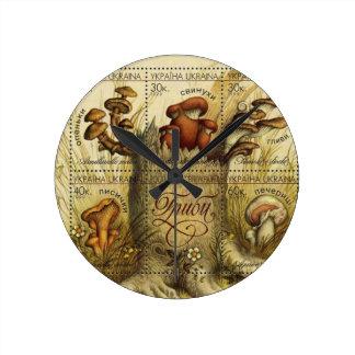 Ukrainian Hryb (Mushroom) Stamp Sheet Round Clock