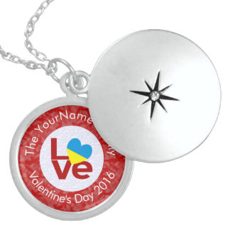 Ukrainian LOVE on White on Red Sterling Silver Necklace