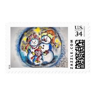 Ukrainian Patriotic Snowmen Family  - In Color Postage at Zazzle