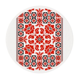 Ukrainian Red Black Embroidery Edible Frosting