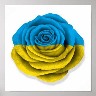 Ukrainian Rose Flag on White Posters