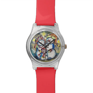 Ukrainian Snowmen Family Cute Watch