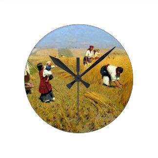 Ukrainian Threshing Scene Round Clock