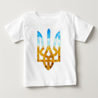 Ukrainian tryzub background of wheat and blue sky baby T-Shirt