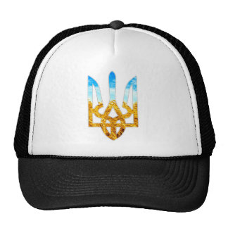 Ukrainian tryzub background of wheat and blue sky trucker hat