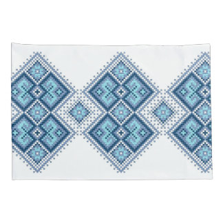 Ukrainian vyshyvanka embroidery blue cross-stitch pillowcase