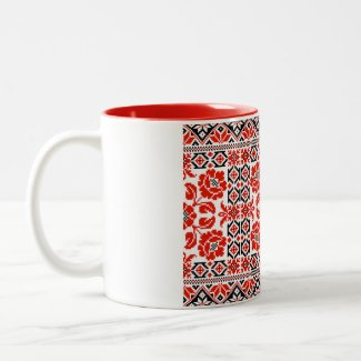 Ukrainian Vyshyvanka Embroidery Poppy Flowers Mug