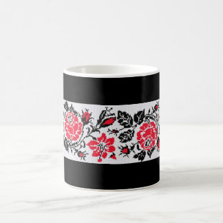 Ukrainian Vyshyvanka Embroidery Red Roses Mug