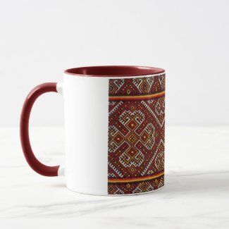 Ukrainian Vyshyvanka Red Spirals Embroidery Mug