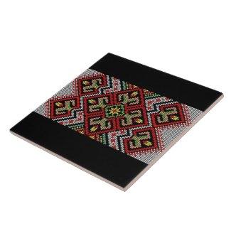Ukrainian Vyshyvanka Rushnyk Embroidery Ceramic Tile