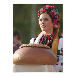Ukrainian Woman Bread and Salt Card