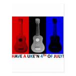 Ukulele 4th of July Post Cards