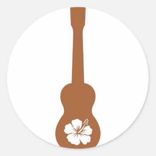 Ukulele and hibisbus sticker