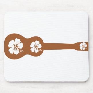 ukulele and hibiscus aloha flower mouse pad