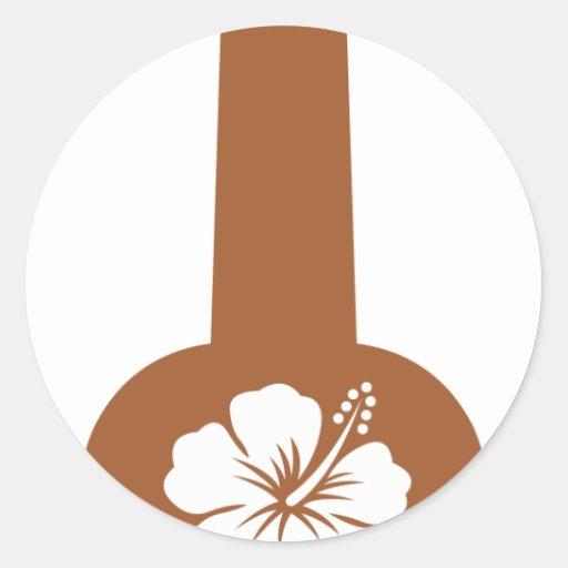 ukulele and hibiscus aloha flower round sticker