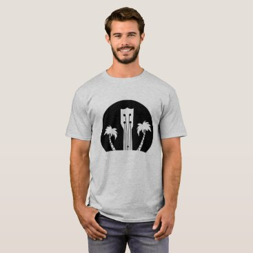 USA Themed Ukulele and Palm Trees T-Shirt