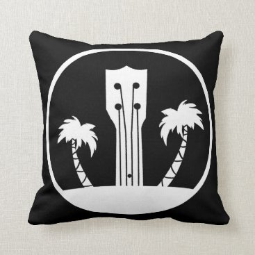 USA Themed Ukulele and Palm Trees Throw Pillow