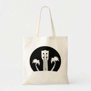 USA Themed Ukulele and Palm Trees Tote Bag
