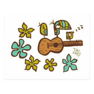 Ukulele Birds by Tiki tOny Postcard