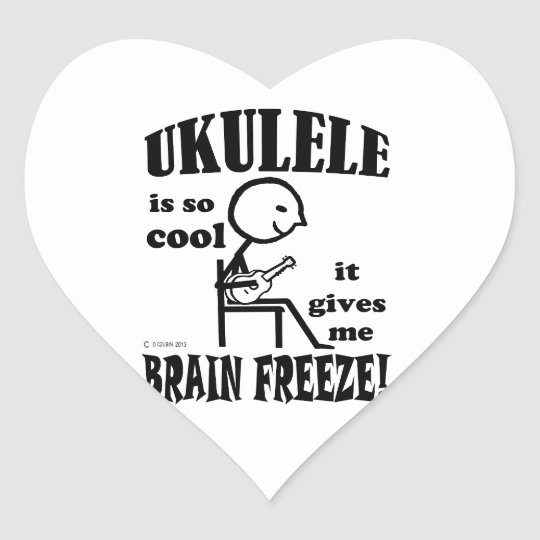 Ukulele, Brain Freeze Heart Sticker