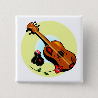 Ukulele Castanets Rose Design Graphic Musical Button