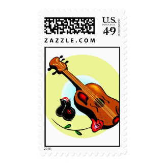 Ukulele Castanets Rose Design Graphic Musical Stamp