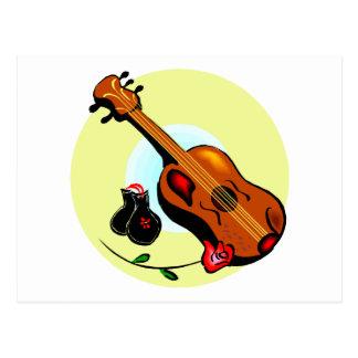Ukulele Castanets Rose Design Graphic Musical Postcard