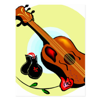 Ukulele Castanets Rose Design Graphic Musical Postcard