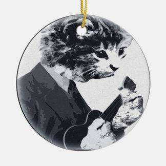 Ukulele Cat round Ceramic Ornament