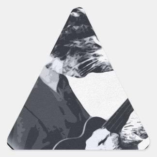Ukulele Cat round Triangle Sticker