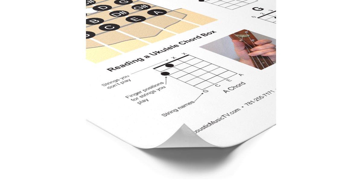 Ukulele Chords Finger Chart and Fretboard Poster : Zazzle