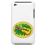 Ukulele con las hojas y el círculo de la flor, ama Case-Mate iPod touch fundas