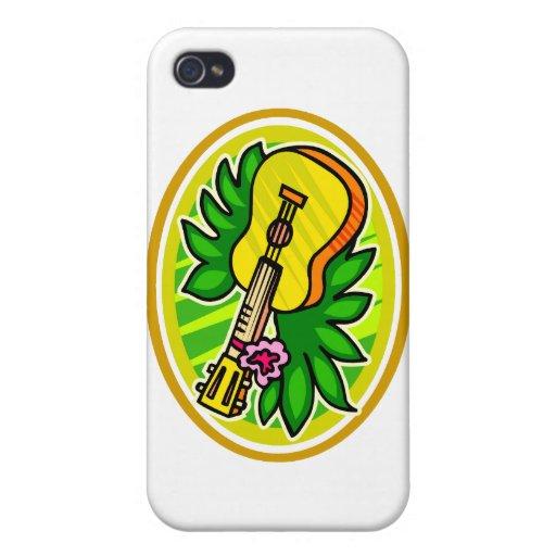 Ukulele con las hojas y el círculo de la flor, ama iPhone 4/4S funda