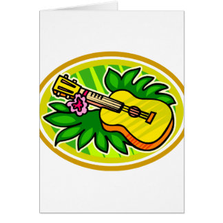 Ukulele con las hojas y el círculo de la flor, ama tarjeta de felicitación