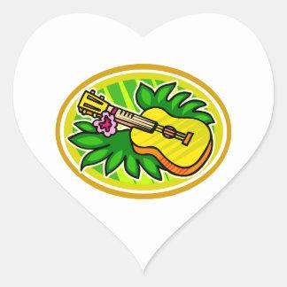 Ukulele con las hojas y el círculo de la flor, pegatina en forma de corazón