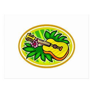 Ukulele con las hojas y el círculo de la flor, postales