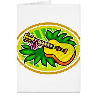Ukulele con las hojas y el círculo de la flor, tarjeta pequeña