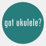 ¿ukulele conseguido? etiqueta redonda