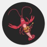 Ukulele Crawfish Round Stickers